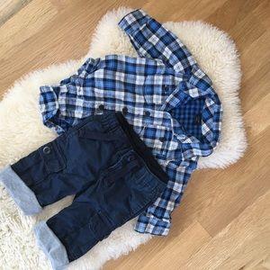 Gap Blue Winter Collard Shirt & Lined Pants